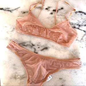 Peach and gold shimmer star lingerie set